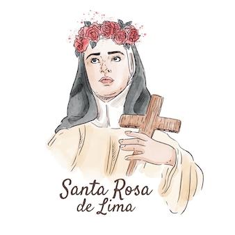 Pintado a mano acuarela santa rosa de lima ilustración