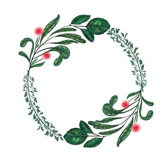 Pintado a mano con marcadores corona floral con ramita, rama y hojas verdes abstractas
