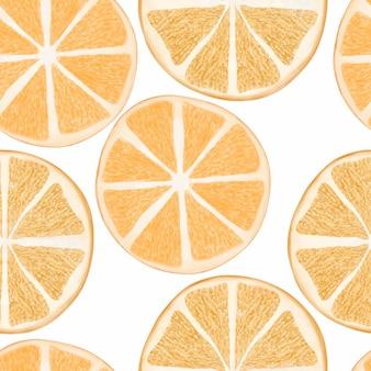 Pintado a mano de patrones sin fisuras acuarela cítricos rodaja de naranja