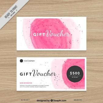 Pintados a mano cupones de descuento de color rosa