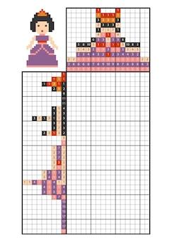 Pintar por rompecabezas numérico (nonograma), juego educativo para niños, princesa