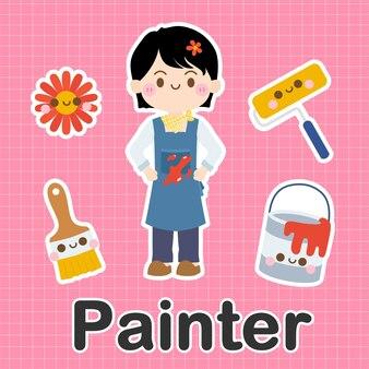 Pintor - conjunto de personaje de dibujos animados lindo kawaii de ocupación
