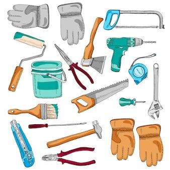Pintor iconos de herramientas de trabajo establecer color