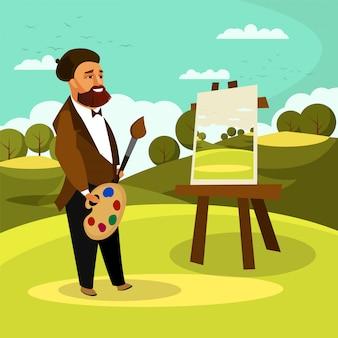 Pintor con paleta