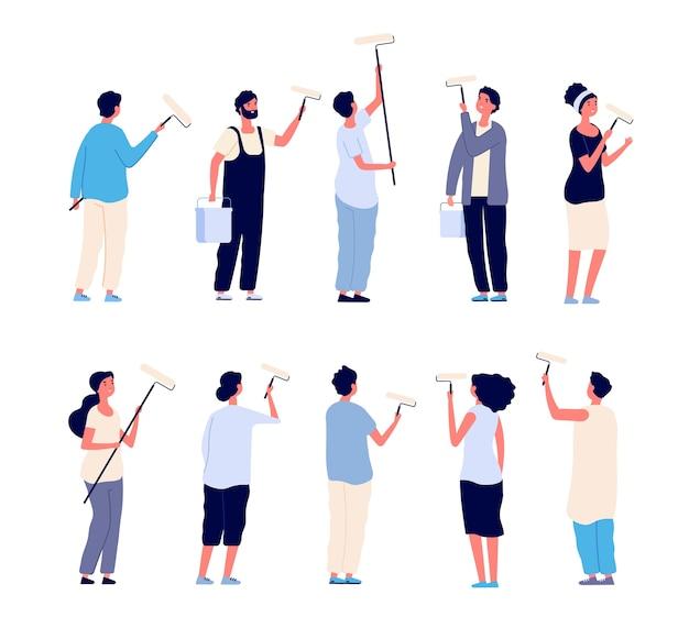 Pintores. pintor de hombres y mujeres con rodillos de pintura y pintura de la pared de la casa. personajes aislados de dibujos animados. trabajador de pintura, pintor persona renovación ilustración