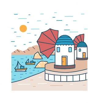 Pintoresco paisaje costero con barcos o barcos navegando en el mar y edificios de pie en la costa contra montañas rocosas y sol en el fondo