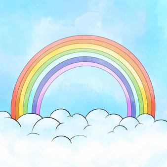 Pintura acuarela arcoiris