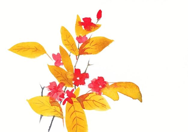 Pintura acuarela de flores y hojas de colores