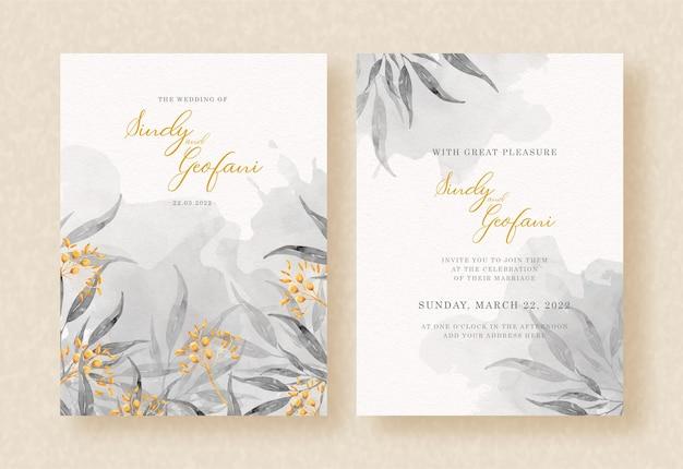 Pintura de acuarela gris floral en diseño de invitación de boda