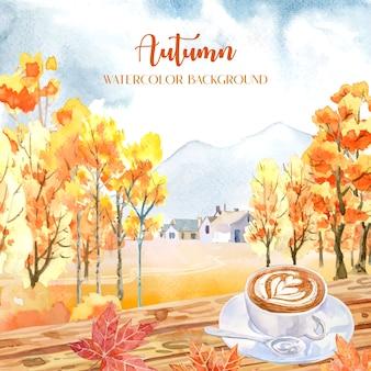 Pintura de acuarela de otoño con muchos naranjos con una taza de café con arte latte en la parte superior y hoja de arce en el frente.