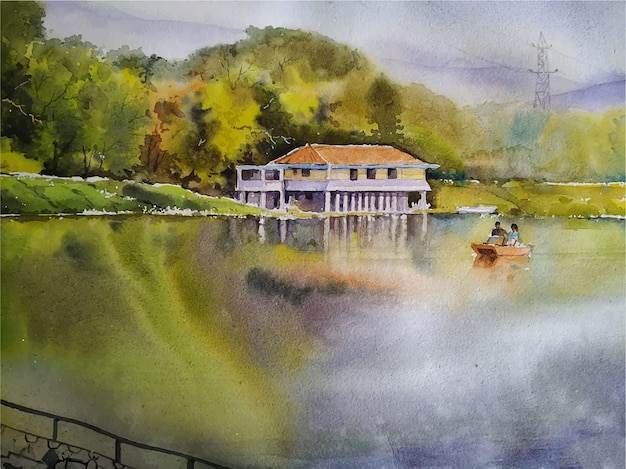 Pintura de acuarela paisaje de la naturaleza