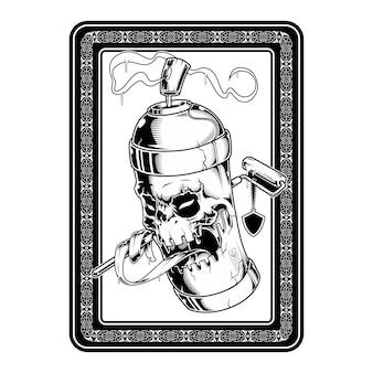 Pintura en aerosol cráneo cara graffiti ilustración