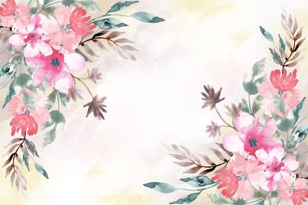 Pintura artística con fondo floral acuarela