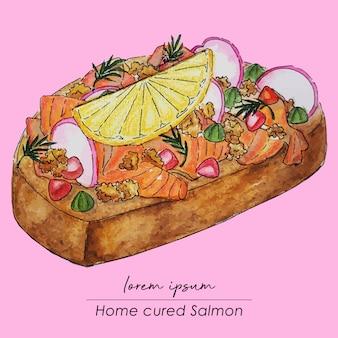 Pintura casera fresca de la acuarela del emparedado de salmón curado