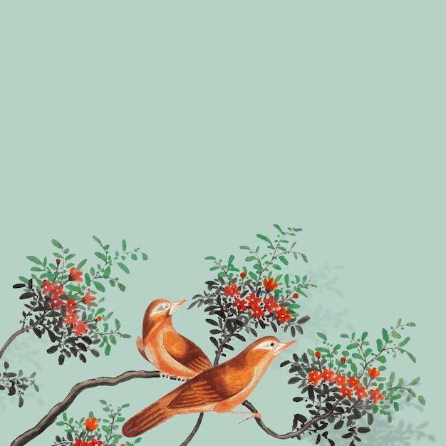 Pintura china con dos pájaros.