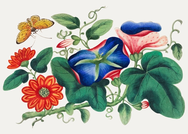 Pintura china con flores y mariposas.