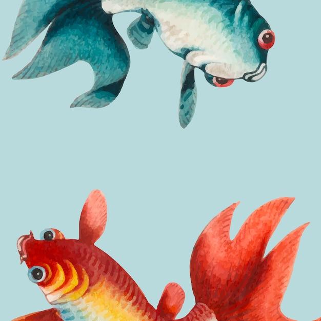 Pintura china con un pez dorado y plateado.