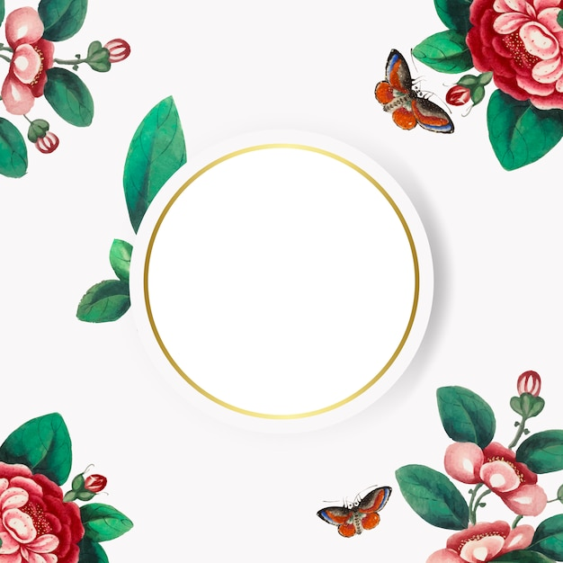 Pintura china con vector de marco de círculo de flores en blanco