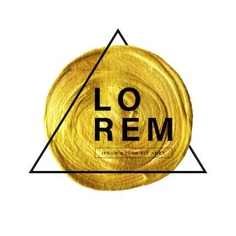 Pintura de círculo dorado con diseño de tipografía y línea triangular.