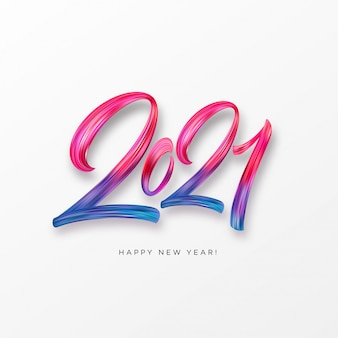 Pintura colorida pincelada caligrafía de letras de fondo feliz año nuevo. ilustración