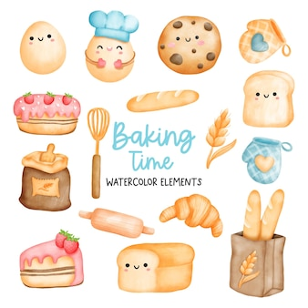 Pintura digital acuarela elementos de panadería elemento de cocina.