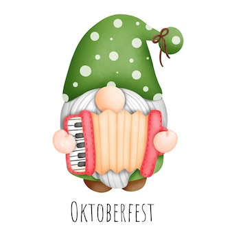 Pintura digital acuarela festival de octubre, festival de la cerveza gnomo, oktoberfest