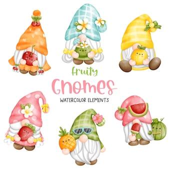 Pintura digital acuarela fruity gnomes elementos.