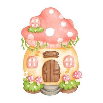 Pintura digital acuarela gnomo casa, casita. ilustración vectorial