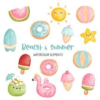 Pintura digital acuarela playa y elementos de verano.