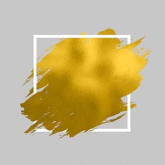 Pintura dorada en cuadrado. trazos de pincel para el fondo del cartel. pintura dorada brillante textura ilustración. brillo mancha de mancha de oro