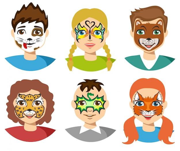 Pintura facial, caras de niños con pintura aislada