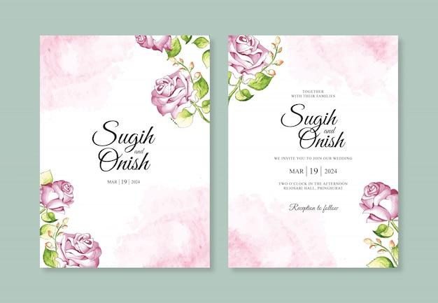 Pintura de flores de acuarela para una plantilla de invitación de boda minimalista