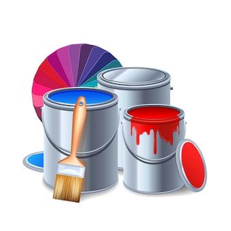 Pintura de herramientas y equipos de composición realista con latas de pintura