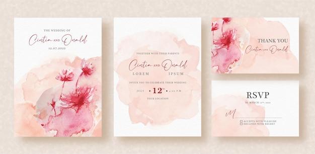 Pintura húmeda de flores en invitación de boda