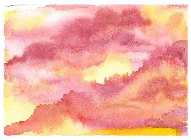 Pintura a mano espectacular puesta de sol cielo nublado fondo de acuarela