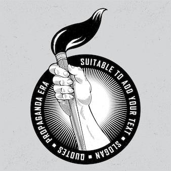 Pintura de la mano de la vendimia con la insignia del logotipo del cepillo