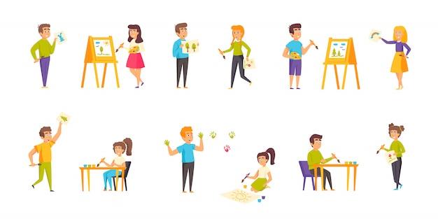 Pintura niños personajes conjunto plano de caracteres