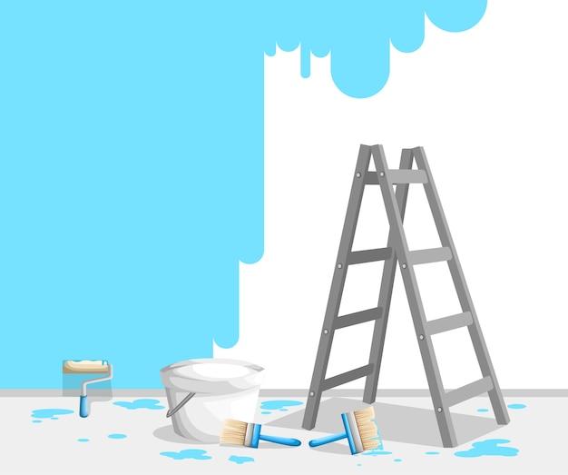Pintura de pared con rollo de pintura, pincel y escalera. pintura azul brillante en cubos. concepto de trabajo de pintor. ilustración. página del sitio web y aplicación móvil