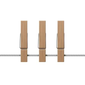Pinzas madera pinzas cuerda vista lateral aislado