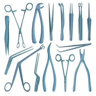 Pinzas médicas de dibujos animados conjunto de iconos. ilustración herramienta quirúrgica sobre fondo blanco. conjunto de dibujos animados pinzas médicas icono.