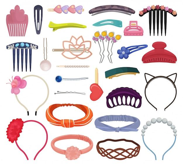 Pinzas para el pelo aislado conjunto de iconos de dibujos animados. pasador de ilustración