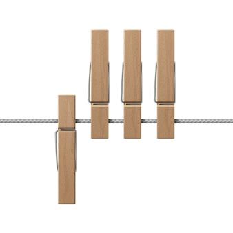 Pinzas para la ropa de madera clavijas en la vista lateral de la cuerda