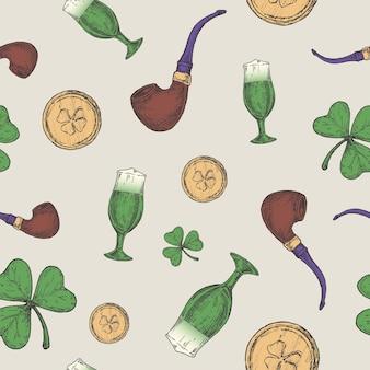 Pipa de duende dibujada a mano, monedas de oro y trébol de la suerte verde