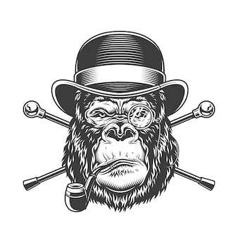 Pipa de fumar cabeza de gorila serio vintage
