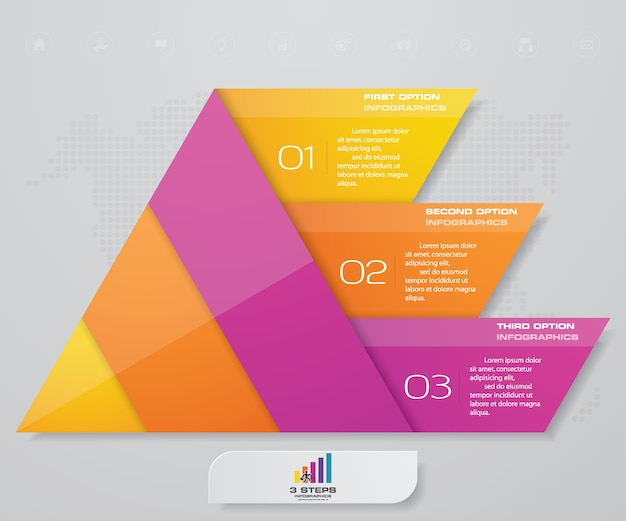 Pirámide de 3 pasos con espacio libre para texto en cada nivel.