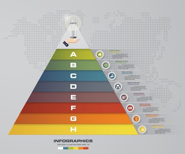 Pirámide de 8 pasos con espacio libre para texto en cada nivel.