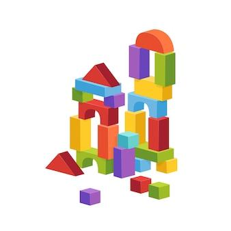 Pirámide construida a partir de cubos de niños. ilustración de castillo de juguete.