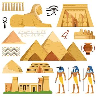 Pirámide de egipto y objetos culturales y símbolos de los egipcios.