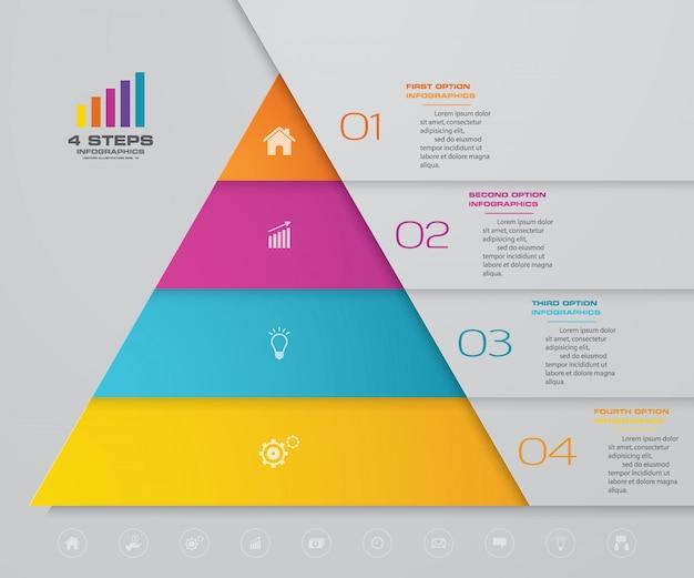 Pirámide de infografía con cuatro niveles.