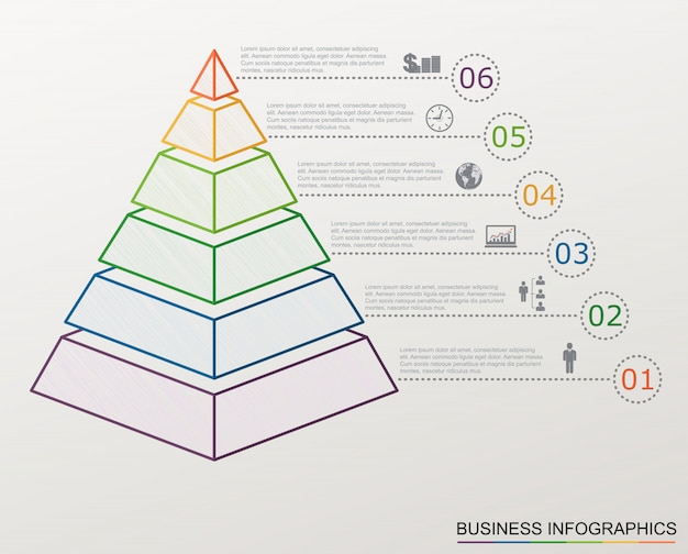 Pirámide de infografía con números e iconos de negocios, estilo de línea,